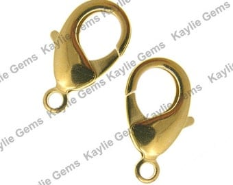 Large Brass Lobster Clasps 15x8mm Gold Plated - Strong - 10pcs