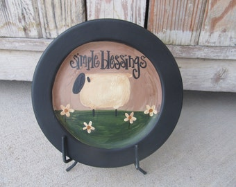 Primitive Simple Blessings Daisy Sheep Hand Painted Plate GCC3463