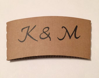 Pack of personalized 25 coffee or hot chocolate cup wraps sleeves for wedding coffee bar or Christmas parties.