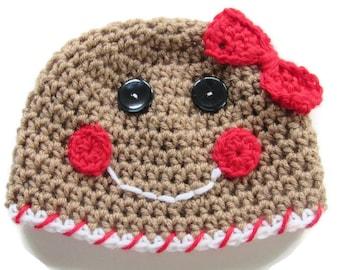 Crochet Gingerbread Girl Hat - Crochet Christmas Baby Hat - Gingerbread Christmas Hat - Size 3 to 6 Months - Ready To Ship