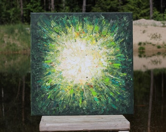 Original Abstract painting Green Forest  Sun original painting abstract landscape painting modern wall decor