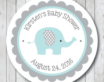 Elephant Baby Shower Stickers, Labels or Tags . Personalized Elephant Tags