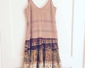 Tan upcycled summer dress