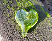 Lime Green Glass Heart, S...
