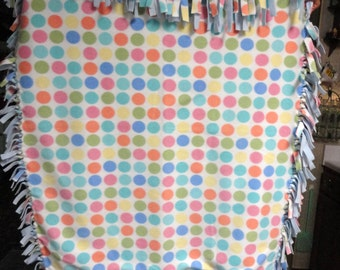 Hand Tied Polka Dot Throw Reversible To Baby Blue Polar Fleece
