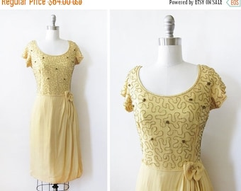 5O% OFF SALE yellow chiffon beaded dress, vintage 60s chiffon dress, medium 1960s party dress - As Is