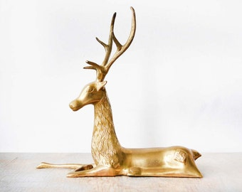 brass deer, vintage brass deer figurine, large deer sculpture