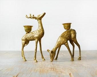 brass deer candle holders, vintage brass deer figurines