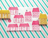 country house stamp. nordic house hand carved rubber stamp. town stamp. diy birthday christmas scrapbooking. holiday crafts. choose option