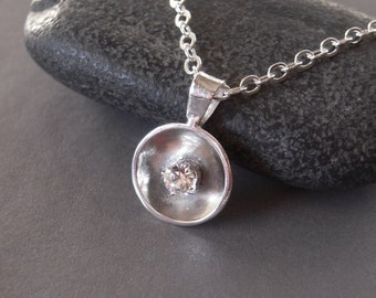 Sterling Silver Necklace, Sterling Silver Domed Hand Made Necklace, 925 Petite Pendant, Argentium Sterling Silver