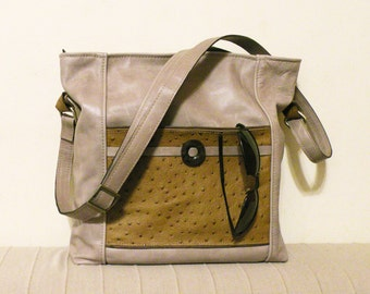 "leather tote – handmade fashion bag - bag with pockets - genuine leather crossbody bag - purce with pockets ""SONIA"""