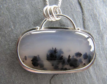 Stunning Montana Agate Pendant in Sterling Silver