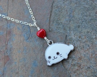 Little white seal & heart necklace - enameled charm, red heart, sterling silver chain -Free Shipping USA