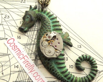 Seahorse Necklace Steampunk Necklace Verdigris Green Patina Art Deco Gothic Victorian Nautical Sea Life Seahorse Tropical Jewelry MADE USA