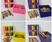 Crayon Box Holder, Kids Crayon holder, Childs color box, plastic canvas crayon box, girl crayon box, handmade crayon keepsake box