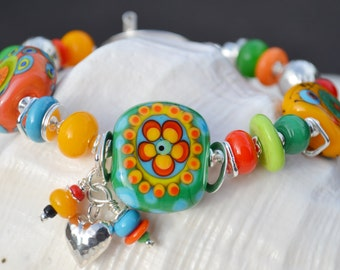 FUNKY FLAIR-Handmade Lampwork and Sterling Silver Bracelet