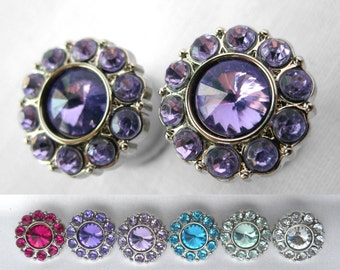 "Pair of Rhinestone Plugs - Handmade Girly Gauges - More Colors - Bridal - Formal - 2g, 0g, 00g, 7/16"", 1/2"" (6mm, 8mm, 10mm, 11mm, 12mm)"