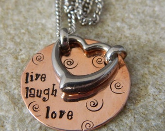 Live Laugh Love Copper and Stainless Steel Necklace