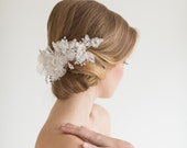 Wedding Headpiece, Bridal Floral lace Headpiece, Bridal Crystal Lace Hair Accessory