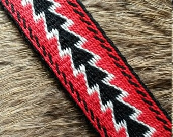 Tablet / Card Woven Black Powder Horn Strap