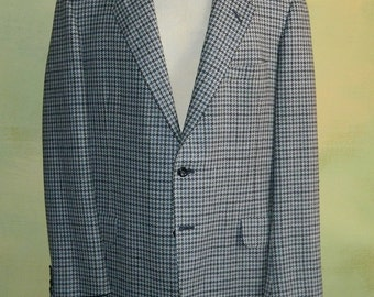 44 Tall Oxxford Clothes Jacket Onwentsia Blue & Gray Houndstooth Tweed 2 Button Ultimo