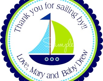 Sailboat Stickers, Personalized Nautical Labels, Nautical Baby Shower, Nautical Stickers or Gift Tags - Set of 12
