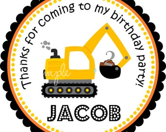 Excavator  Personalized Stickers, Construction Stickers or Gift Tags, Construction Birthday Party  -Set of 12