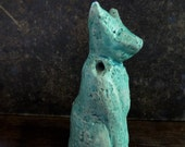 Artisan ceramic seal pendant - Turquoise Cat and a dog