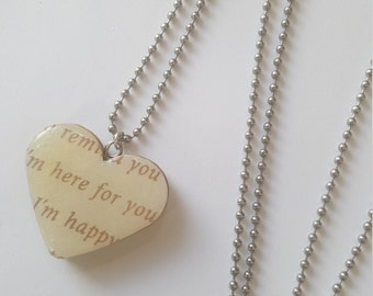 I'm Here for You No Matter What Paper Pendant Necklace