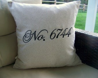 free shipping /number pillow / embroidered / black / custom /  gift idea / No. / house number / porch pillow / personalized /