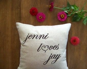 free shipping - personalized love pillow / embroidered / custom / loves / heart / valentines day / v day / valentines gift / embroidery /