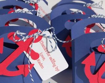 set of 10 navy nautical favor box with anchor nautical theme baby shower wedding birthday gift box