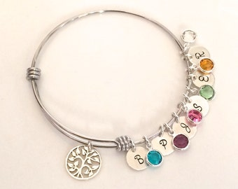 Personalized Birthstone Bracelet - Silver Mom Bracelet - Family Tree Jewelry - Mother's Day Gift for Grandma - Mother's Day Bracelet