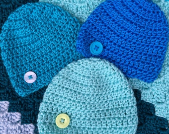 Summer baby hats shades of blue teal and aqua newborn infant 0-3 months