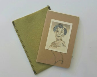 Moleskine Cahier ruled journal embroidered photograph sketchbook art