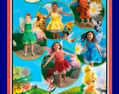 DISNEY TINKER BELL-Costume Sewing Pattern-Four Fairy Styles-Wings-Petal Skirt-Bloomers-Belt-Tulle Skirt-Uncut-Size 3-8-Rare
