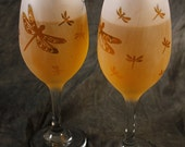 Large and small Dragonfly Frosted Etched White Wine Glasses Set Of 2