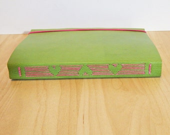 Green Leather Journal with Heart Design in longstitch - Wedding Guestbook, Mother's Day Gift