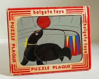 Vintage Seal Puzzle Plaque Holgate Toys Children Kids Wood Wooden Circus Animal Display Nursery Decor Game MCM Retro