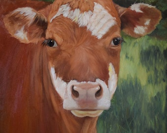 Painting of Cow 716,Animal Portrait,Terra Cotta, Original Oil on Canvas by Cheri Wollenberg