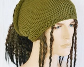 Knitted Tube Hat, Yoga Headband, Dreads Hat Neck Warmer, Khaki Uk