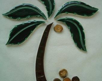 LANIKAI - XL 12 pc PALM Tree, Coconuts - Ceramic Mosaic Tile Set