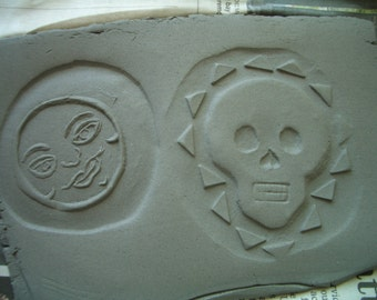 Skull, Hamsa, Moon Face, Medallion CLAY STAMPS Set No. 6 - Handmade CERAMIC Stamps