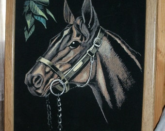 Vintage Acrylic on Black Velour Horse Painting
