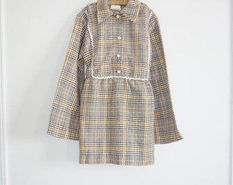 SALE // Vintage Yellow and Brown Plaid Junior's Dress
