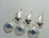 6 pc lot guilloche enamel floral shell charms pendant destash vintage deadstock