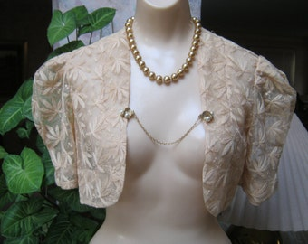 Vintage XS mesh embroidered short top, natural color bolero top or shrug, sweet mesh embroidery bride's shrug  VERY SMALL