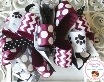 New Item---Over the Top Boutique Layered Hair Bow Clip----Loopyity Loops---Paw Print---Maroon Black White Gray