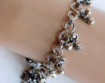 Vintage Belly Dancer Silver-Plated Anklet w/ Dangles - Silvertone Ankle Bracelet - 10.5 inches - Hippie Boho Jewelry