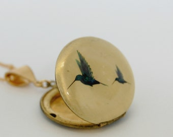 Vintage Hummingbird Locket Necklace Birds Feathers Hummingbirds Necklaces Lockets Customized Layering Pieces Unique Gift Personalized Gift